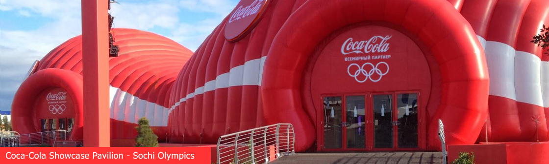 Coke inflatable temporary event structure